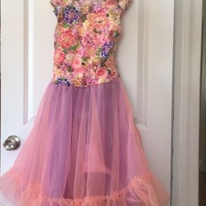 Floral tulle Dance costume pink purple Extra large